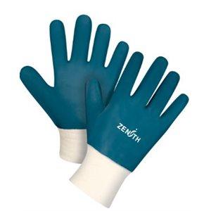 Gants à poignet en tricot enduit de nitrile Bleu / pr (S)