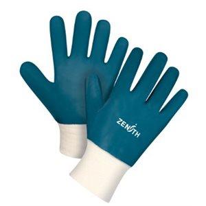 Gants à poignet en tricot enduit nitrile Bleu / pr (S)