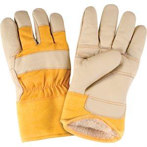 Gants ajusteur pour meubles en cuir doublés boa / acrylique / pr (jaune)