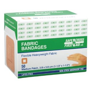 Bandage adhésif tissus 1½ x 1½ bte / 50