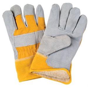 Gants d'ajusteur en cuir de vache refendu doublés de boa / acrylique / pr (S)